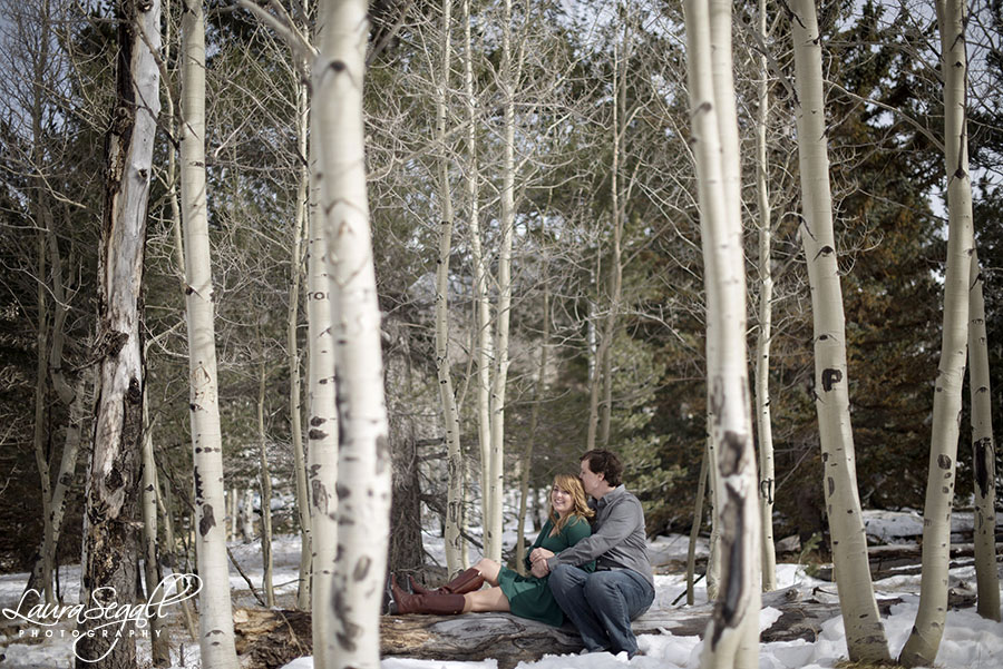 Snowy winter Flagstaff engagement session